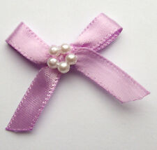 10 RIBBON BOWS WITH BEADS  (Lilac).