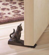 CUTE KITTY CAT DOOR STOP WALL STOPPER WEDGE CAST IRON FELINE HOME DECOR