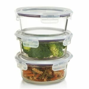 420 ML, Round Glass Food Storage Containers POT–Microwave&Freezer Safe, SET OF 3