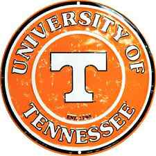 University Of Tennessee Vols Embossed Metal Novelty Round Sign