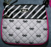 Luv Betsey Johnson Handbag Purse Crossbody Messenger Quilted Bows Stripe Chain