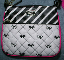 Luv Betsey Johnson Handbag Purse Crossbody Messenger Quilted Bows Stripe Chain