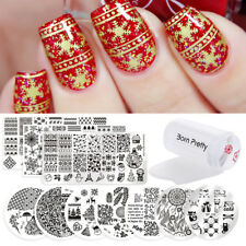 12Pcs Set Born Pretty Christmas Xmas Nail Art Stamping Plate & Stamper & Scraper