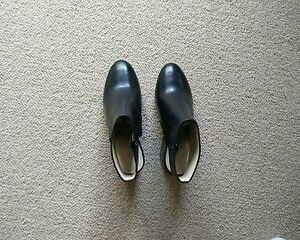 New $350 Bettye Muller Black Leather Block Heel Bootie 7 Anthropologie