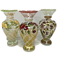 Tracy Porter Hand Painted Glass Floral Vase Lot of 3