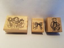 Stampin' Up! Vtg 1995-96 Country Chic Bear Dolls Bow Wood Mounted Rubber Stamps
