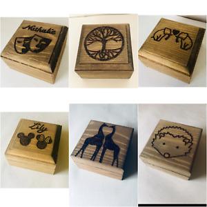 Personalised Wooden Ring Box Gift Box Keepsake Proposal Box Any Design Engraved