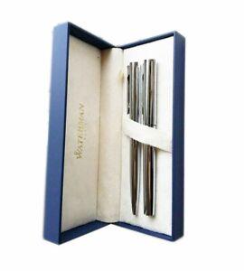 Waterman Fountain Pen Fine Pt  & Ballpoint Pen Silver Set New In Box