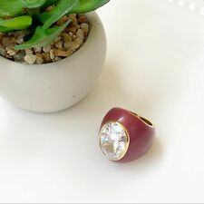 Noir Giant CZ Oval Clear Crystal Cocktail Ring Womens Maroon EUC Size 6