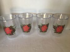 POINSETTIA 16oz Tumblers Set of 4 Red Green Christmas Holiday (New in box.) T10