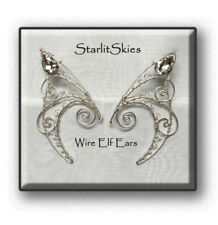 Wire Elf Ear cuff, Sterling Silver Filled Pair with Clear Swarovski Crystals,