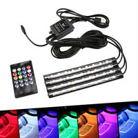 4pcs 9LED RGB Car Interior Atmosphere Strip Light USB Charger Remote Decor Lamp
