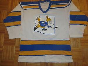 Vintage WHA 1980s Pro Joy Phoenix Roadrunners sewn white hockey jersey Men XL