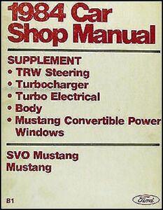 1984 Ford Convertible MUSTANG Y Svo Turbo Tienda Manual Original Reparar Service