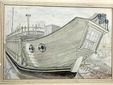 PAIR British NAUTICAL PAINTINGS-DRAWINGS John Stanton Ward LISTED ARTIST Signed