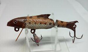 "Vintage Folk Art Jointed Minnow Lt Brown/Brown 3 1/2"" Crankbait Fishing Lure"