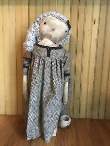 "24"" Primitive Snowman Snow Girl Doll"