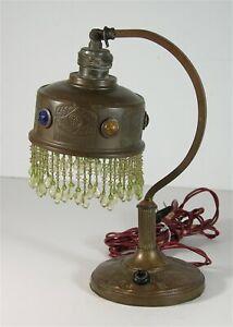 1910s JEWELED BRASS TABLE LAMP - ART NOUVEAU / MISSION PARLOR DESK LAMP