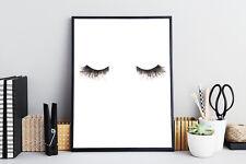 Black & White Eyelashes Wall Art Print Illustration Gift For Her Make Up Poster