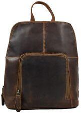 Greenwood® Vintage Rucksack Backpack Damenrucksack 100% Leder Sandel 26x29 cm