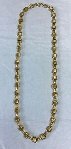 """Gold Toned Chunky Statement Necklace Alternating Link Bamboo Look Chain 30""""L Vtg"""