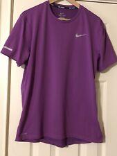 Nike Running Mens Sz M Purple Dri-Fit Tee T-Shirt Gray Swoosh Logo!