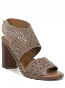 Women Franco Sarto Delores Block Heel Sandal Suede Taupe Brown