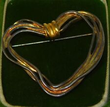 Vintage Gold Silver Plate Heart Pin Brooch Jewelry Pd Crown 12H 84