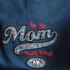 """Polar Dogs Blue Fleece Pullover 1/4 Zip Shirt Large """"I'm The Mom That's Why"""""""