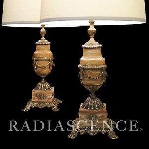PAIR XL NEO CLASSIC ONYX GILT BRASS CORINTHIAN URNS HOLLYWOOD REGENCY lamp 1950s