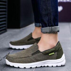 Zapatos casuales de lona para hombre Mocasines ligeros sin cordones talla grande