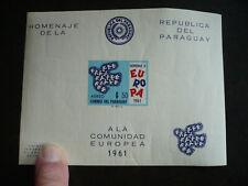 Europa 1961 - Paraguay - Souvenir Sheet - Scott# 629a Imperf