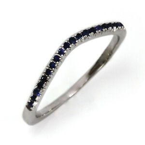 0.12 ctw Natural Blue Sapphire 14k White Gold Curved Wedding Band Ring 1.5 MM