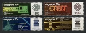 SINGAPORE 1983, COMMUNICATIONS YEAR TELEPHONE TELEX SATELLITE Sc 430-433 MNH