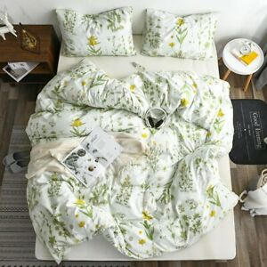 100% Microfiber Fabric Duvet Cover Single Double King Flower Style Bedding Sets