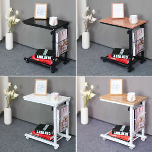 4 Styles Adjustable Sofa Side End Coffee Table On Wheels Laptop Notebook Desk UK