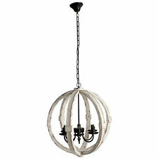 "Wood-Metal Globe Sphere Chandelier D22.5"" - 36407"