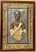 "HUGE 30"" VINTAGE 3D FOLK ART BLACK AMERICANA JAZZ BAND SINGER DIORAMA SHADOWBOX"