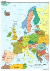 Map of Europe Wall Art Giant Poster - A5 A4 A3 A2 A1 HUGE Sizes