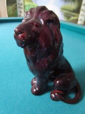 Zsolnay Eosin Large LION Figurine,  Deep Red [*ZS]