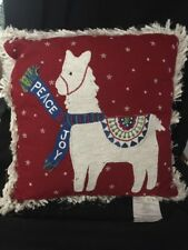 Pier 1 One Imports Christmas Throw Pillow Peace Joy Red With Embroidery
