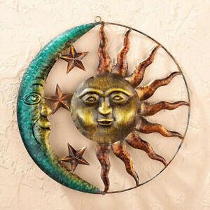 """11""""Rustic Metal Sun Moon Star Celestial Wall Art Sculpture Indoor/Outdoor Dec"""