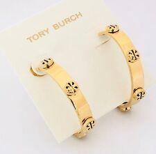 Plated New on Card & Dust Bag Tory Burch Logo Studs Loop Milgrain Earrings Gold