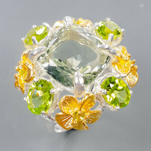 One of a kind ring Green Amethyst Ring Silver 925 Sterling  Size 7.25 /R171197