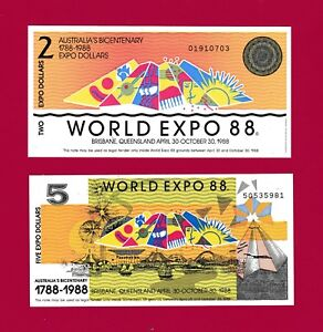 PARTIALLY-ENGRAVED ABNC AUSTRALIA UNC NOTES: $2.00 & $5.00 WORLD-EXPO 1988 NOTES