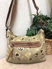 Fossil Original Brand Handbag Bag Shoulder Messenger Canvas Brown Floral Medium