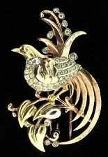 Vtg Philippe TRIFARI Rhinestone Tri-Color Bird on Branch Figural Pin Clip Brooch