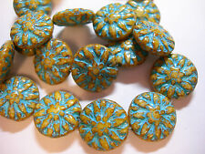 10 14mm Czech Glass Cream w/ Turquoise wash Dahlia Flower Coin Beads