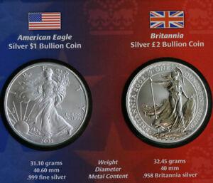 2003 Legacies Freedom American Silver Eagle + UK Britannia Bullion 2 Coin Set