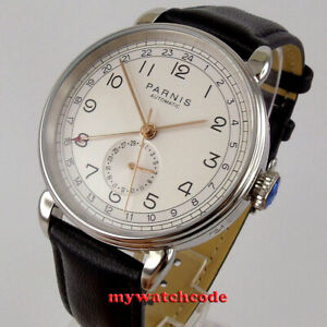 new 42mm Parnis white dial GMT date Automatic Movement Mens Watch 24 hours